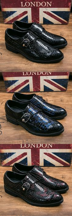 US $28.54 <Click to buy> ECTIC Classic Men Dress Shoes Luxury Brand Crocodile Italian Designer Mens Wedding Shoes Size 38-44 Buckle Design Footwear