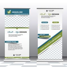 Corporate roll up banners Free Vector