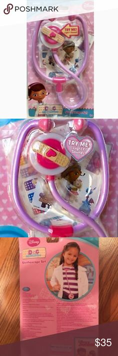 """🆕RARE! DOC McSTUFFINS Lights & Sounds Stethoscope 💫 JUST IN‼️ BRAND NEW, NEVER OPENED! RETAIL: $56.95   DISNEY Junior DOC McSTUFFINS Lights & Sounds Stethoscope Set  With lights & sounds, featuring Doc herself, this stethoscope is sure to please! FEATURES:  • Doc McStuffins Stethoscope Set With 3 Sheets of Stickers • Lights Up with Classic Doc McStuffins Phrases & Sound Effects • 10.2"""" x 6"""" x 1.5"""" • Officially Licensed Disney Product • CATEGORY: Toys ⚠️RARE & HARD TO FIND!⚠️ 🛍Check out my…"""