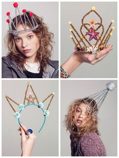 """DIY Inspiration for Whimsical New Year's Eve Tiaras. From """"Teenagers and Tiaras"""", V Magazine, styled by Kelly Framel/The Glamourai, photography by Nick Heavican. First seen at The Man Repeller with an interesting article here about mixing high/low i.e. diamonds and pipe cleaners."""