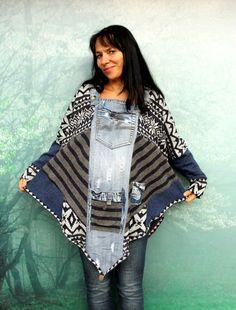 M-XL Crazy denim and sweaters patchwork poncho by jamfashion
