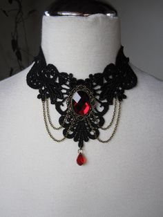 Red+Victorian+Gothic+Burlesque+Lace+Choker+by+Ravennixe+on+Etsy,+$43.00