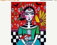45% Off Sale Mexican Folk Art Frida Kahlo Day by HeatherGallerArt