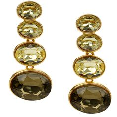 Kenneth Jay Lane Topaz and Gold Drop Clip Earrings (470 CNY) ❤ liked on Polyvore featuring jewelry, earrings, multicolour, topaz jewelry, tri color earrings, kenneth jay lane earrings, gold jewelry and multi color earrings