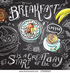 Beautiful hand drawn illustration breakfast top view on the chalkboard cottage cheese, banana and coffee