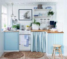 adorable turquoise/blue cottage kitchen