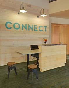 church/Custom finished Douglas fir paneling brightens and warms a west coast office space.
