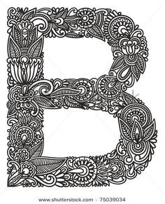 Hand drawing ornamental alphabet. Letter B