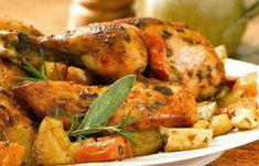 Pollo a la cerveza con papas al romero