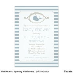 """Blue Nautical Spouting Whale Striped Baby Shower 5"""" X 7"""" Invitation Card"""
