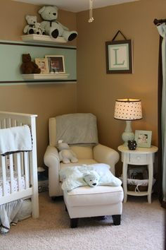Boy nursery- love the stripe!