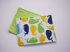 Reversible Car Seat Strap Cover - Whales with Soft Bright Green Minky on Etsy, $10.00