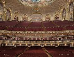 The old Fox Theater in SF. I used to go there as a kid and watch movies. They tore down this magnificent lady in the to build the Fox Plaza. Theater Architecture, Art Nouveau Architecture, Historical Architecture, San Francisco Theater, Concert Hall, Auditorium, Beautiful Space, Abandoned Places, Opera House
