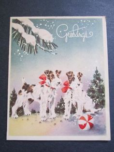 VINTAGE 1946 TERRIER SNOW DOGS CHRISTMAS CARD, RED BOWS, RED & WHITE PLAY BALL