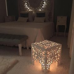 Amazing Oriental Bedroom Carved Wooden Headboard Lights in Coffee Table Whitewash Nightstand Bed Cushions Decor Middle Easter Moroccan Style Interior Design Oriental Bedroom, Moroccan Bedroom, Moroccan Design, Moroccan Decor, Moroccan Style, Decorating Your Home, Diy Home Decor, Decorating Ideas, Home Bedroom