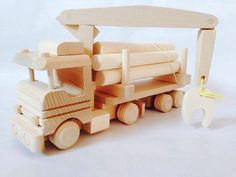 Wooden Truck with Timber Toy by FriendsOfForest on Etsy