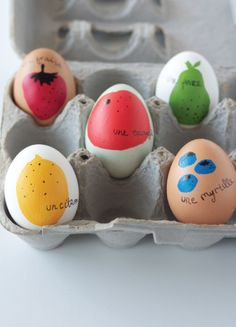 French fruits Easter egg decorating idea by Alison Show | Cool Mom Picks