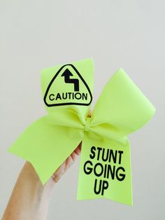Neon Yellow Spandex Caution Stunt going Up Cheer Bow