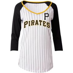 5th & Ocean Women's Pittsburgh Pirates Pinstripe Glitter Raglan... ($35) ❤ liked on Polyvore featuring tops, t-shirts, white, white t shirt, graphic design tees, white graphic t shirts, graphic tees and graphic t shirts