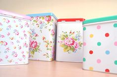 Cath Kidston pretty kitchen tins set, roses, dots, floral, shabby chic, cottage, whimsical