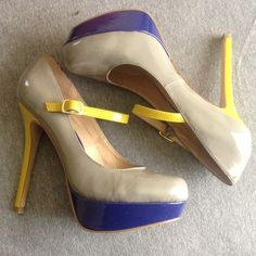 """Steve Madden 7.5 color block pumps New with tags. Never worn. Grey yellow and blue. Really fun flirty heels. 1.5"""" platform 5"""" heel. Steve Madden Shoes Heels"""