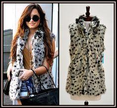 Alice + Olivia Shaelyn Faux Fur Vest. Seen on Demi Lovato In Black/White. NewChicBoutique.com