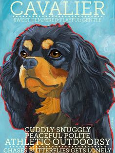 """Cavalier King Charles No. 4 - Black and tan color  2x3"""" magnet from original oil painting"""