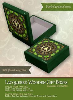 Herb Garden Green Mandala Peace Sign Jewelry Box
