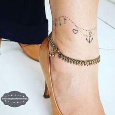 """""""Tornozeleira • Feita pelo Tatuador/Tattoo Artist:  Cinthiatattoo_vr . ℐnspiração 〰 ℐnspiration . . #tattoo #tattoos #tatuagem #tatuaje #ink #tattooed…"""""""