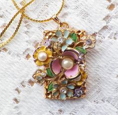 Shabby and Chic Springtime Pastel Flowers Vintage Jewelry Pieces Collage / Montage Pendant / Necklace