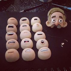 Puppet Making Portfolio on Behance - selection of replacement resin mouths for lipsync, held into place with magnets.