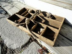Vintage Wood Tray with Rope Handle - Handmade Rustic Primitive Home Decor