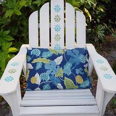 Stenciled Adirondack Chair -- You can rest easy in this colorfully decorated outdoor chair. Outside Furniture, Deck Furniture, Painted Furniture, Outdoor Plastic Chairs, Outdoor Chairs, Outdoor Fun, Chair Makeover, Furniture Makeover, Auction Projects