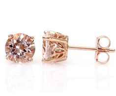 Morganite Earrings Rose Gold Morganite Stud Earrings by RareEarth, $265.00