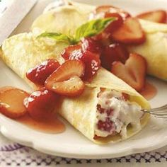 Strawberry Mascarpone Crepes Recipe from Taste of Home -- shared by Shannon Soper of West Bend, Wisconsin