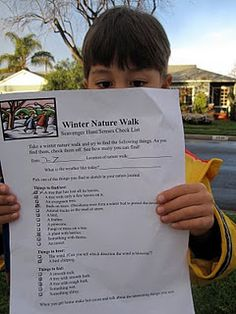 Winter Nature Scavenger Hunt - what a fun activity idea to get kids out and about in the winter!