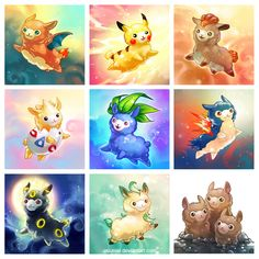 Alpacamons! by yuumei.deviantart.com on @deviantART ... oh my goodness, I want alpaca versions of all of the Pokemon!!! :3