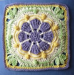 Crochet Granny Square Patterns Ravelry: Juanita Afghan Square pattern by Margaret MacInnis - Crochet Flower Squares, Crochet Granny Square Afghan, Crochet Mandala Pattern, Crochet Ripple, Crochet Flower Tutorial, Crochet Lace Edging, Granny Square Crochet Pattern, Crochet Blocks, Granny Granny