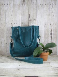 Leather Messenger Bag Fold Over Purse Leather Tote Teal by 14xbags, $245.00