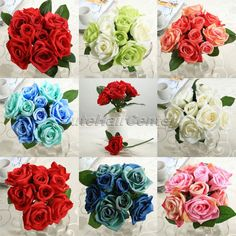 2016 Hot New 8pcs Artificial Silk Flowers Roses Posy Wedding Bridal Bouquet Flowers Home Decor Decoration Flowers Gifts