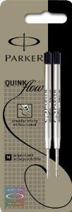 Parker S0909560 Quink Flow Ballpoint Pen Refills, Medium Point - Pack of 2, Black Ink: Amazon.co.uk: Office Products