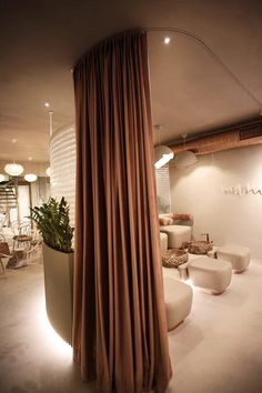 pastel pinks and massive stones fill molos group's design of a beauty salon in kosovo Schönheitssalon Design, Design Salon, Beauty Salon Design, Beauty Salon Interior, Beauty Salon Renovation Ideas, Home Beauty Salon, Home Salon, Beauty Studio, Cafe Design
