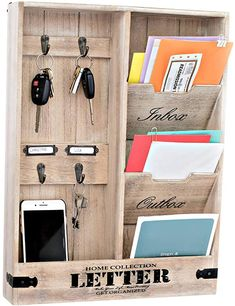 Mail Organizer Wall Mount, Mail Holder Wall, Wooden Organizer, Key Organizer, Key Holder For Wall, Diy Key Holder, Wall Mounted Key Holder, Key And Letter Holder, Mail And Key Holder