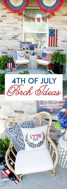 How To Decorate A Front Porch for of July by MichaelsMakers Lindi Haws of Lo. How To Decorate A Front Porch for of July by MichaelsMakers Lindi Haws of Love The Day Fourth Of July Decor, 4th Of July Celebration, 4th Of July Decorations, 4th Of July Party, July 4th, Parties Decorations, Patriotic Crafts, Patriotic Party, July Crafts
