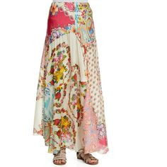 Women's Georgette Mixed Floral-Print Maxi Skirt
