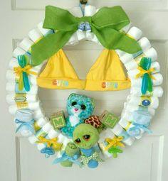 Diaper Wreath, baby diaper wreath, diaper wreath for twins, boy diaper wreath Crochets – Crochet models Baby Shower Crafts, Baby Crafts, Baby Shower Themes, Shower Gifts, Bricolage Baby Shower, Diaper Wreath Tutorial, Diaper Crafts, Cadeau Parents, Unisex Baby Shower