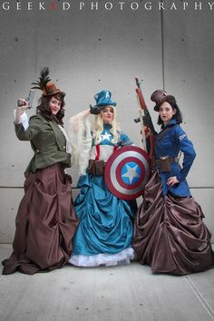 Captain America The First Avenger costumes from NYCC 2014 Peggy Carter - Tea Berry-Blue. Lady Captain America - Jenn Wotchertonks. Lady Bucky Barnes - Datura Riot. Lady Captain America and Lady Bucky Barnes costumes by Datura Riot. Peggy's costume made by Tea Berry-Blue. Weapons by Datura Riot. Photo by Geeked Photography.
