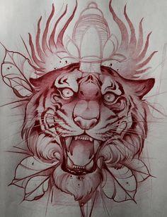 Эскиз тату с тигром, проткнутым кинжалом