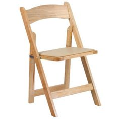 Natural Wood Folding Chair With Vinyl Padded Seat