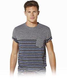 c48922816d37 Acheter T-shirt gris à rayures bleues – Mode Homme – CELIO Rayures Bleues